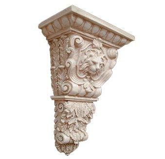 (Architectural Superstore BuyFauxStone Lion Head w/Ecan Leaf Corbel-Stone White)