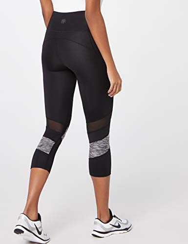 Sportivi black Nero grey Marl Donna Stripe Aurique Capri Leggings qwT0xXXYt