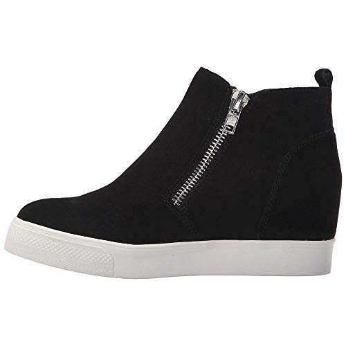 - Women's Wedge Sneakers Platform Side Zipper Hollow out High Top Faux Suede Causal Flat Shoes