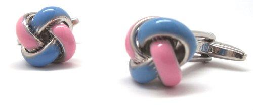 (Baby Blue and Pink Enamel Cufflinks Cuff Links)