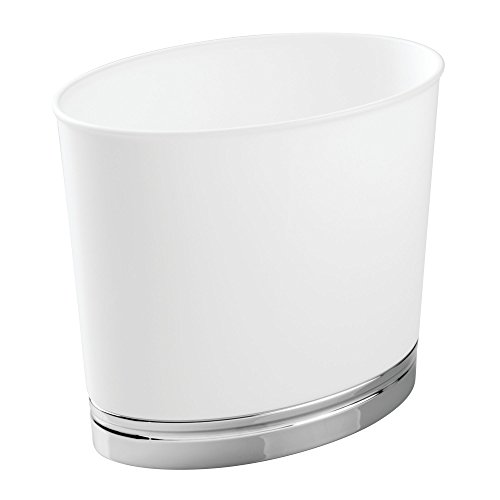 - InterDesign York Oval Wastebasket Trash Can for Bathroom, Kitchen, Office - White/Chrome