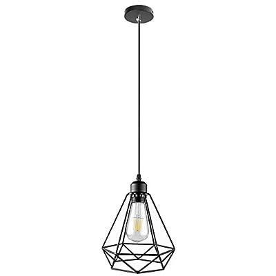 Lightess Vintage Hanging Pendant Light Industrial Edison Diamond Cage Black Chandelier Ceiling Lighting Fixture With 1 Light