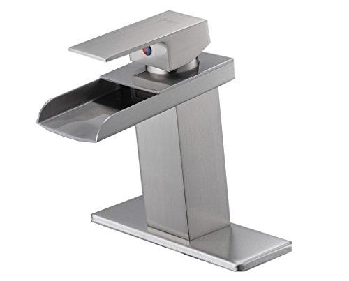 Eyekepper Nickel Brushed Waterfall Bathroom Sink Vessel faucet Lavatory Mixer Tap Open Channel Water (Brushed Nickel Faucet)