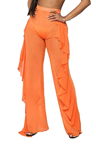 Doqcey Women's Perspective Sheer Mesh Ruffle Pants Swimsuit Bikini Bottom Cover up (Y Orange, Medium) ()