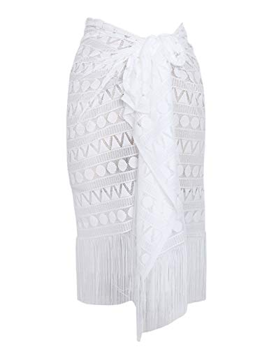 ChinFun Women's Sarong Wrap Skirt Swimsuit Summer Beach Swimwear Flower Lace Bikini Cover Up with Tassel D-V-White