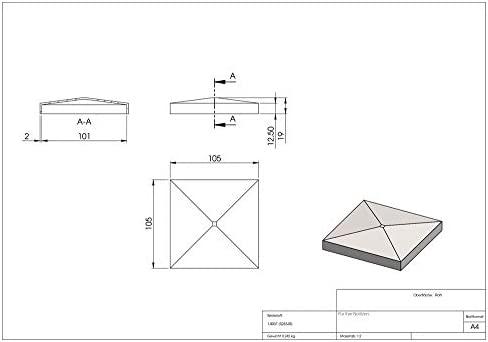 Pfeilerbedecker Abdeckkappe für Quadratrohr 40 x 40 mm mit Kugel Ø 40 mm