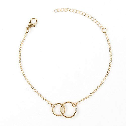 Gold Bracelets for Women,Hammered 14K Gold Fill Dainty Bar Circle Adjustable Bracelet Delicate Cute Friendship Gifts Women Mother's Day ()