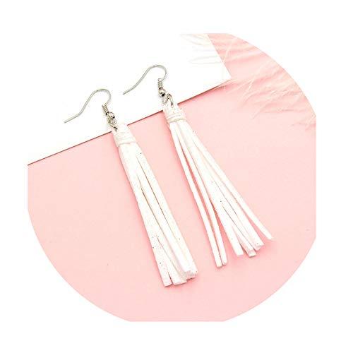 Earrings For Women Bohemian Tassel Earrings Black White Blue Red Pink leather Fabric Long Drop Dangle Tassel Jewelry,as the picture1 ()