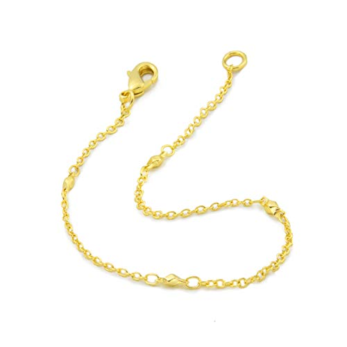 My Ritzy Saturn Beaded Station Link Chain Tiny Bracelet for Women's 24k Gold Plated Fashion Jewelry for Everyday Wear | 1MM Thick |7.5 inch | Packed in Gift Box