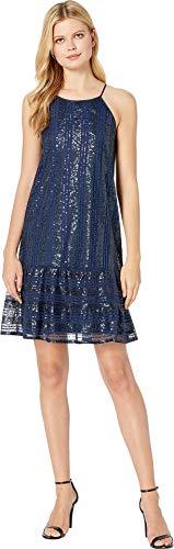 CeCe Women's Sleeveless Ruffled Sequin Shift Dress Midnight Bloom Medium