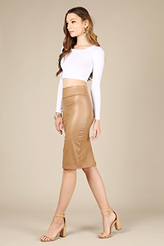 4cd6a15fc3 Faux Leather Pencil Skirt Below Knee Length Skirt Midi Bodycon Skirt for  Womens, USA | TOP MERCH DEALS