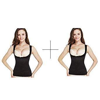 d73285ad5a643 Waist Trainer Modeling Strap 2 Pieces Slimming Girdles Shapewear Lingerie  Corrective Underwear Women Body Shaper Corset Top Color Black-Black Size  XS: ...
