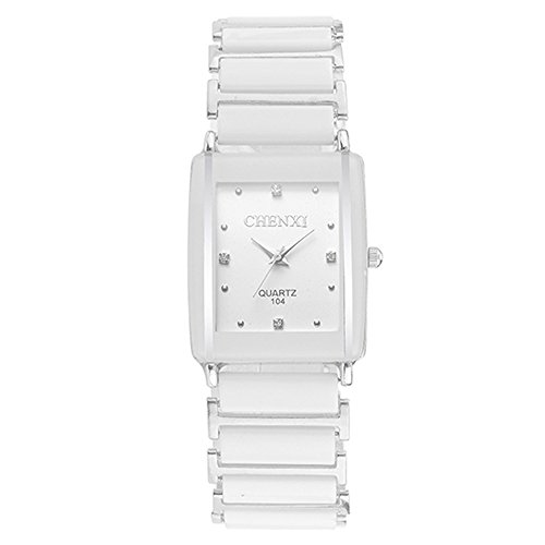 (Classic Rectangular Lovers Watches - Simple Rhinestone Decorated Dial Ceramic Strap White Watches for Men)