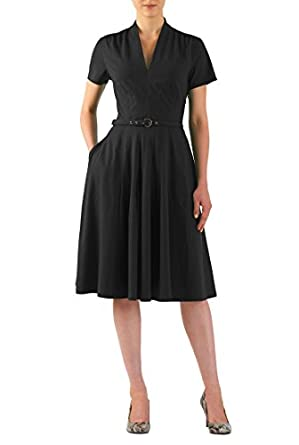 Vintage Inspired Cocktail Dresses, Party Dresses eShakti Womens Cotton jersey knit belted dress $63.95 AT vintagedancer.com