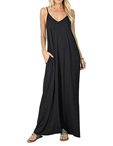 Charming House Women's Casual Maxi Dress, Plain Strip Flowy Loose Long Dresses with Pockets for Work (Black, Large) (Charming House)