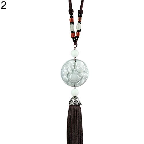 HsgbvictS Car Ornament Interior Decoration Double Side Car Lucky Blessing Pixiu Buddha Pendant Tassel Auto Hanging Ornament - 2#