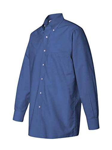Van Heusen L/S Wrinkle-Resistant Blended Pinpoint Oxford Button Down Dress Shirt 56900 blue XXXL ()