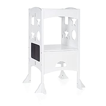 Ordinaire Guidecraft Classic Kitchen Helper   White: Folding, Adjustable Height  Counter Safety Step Stool For