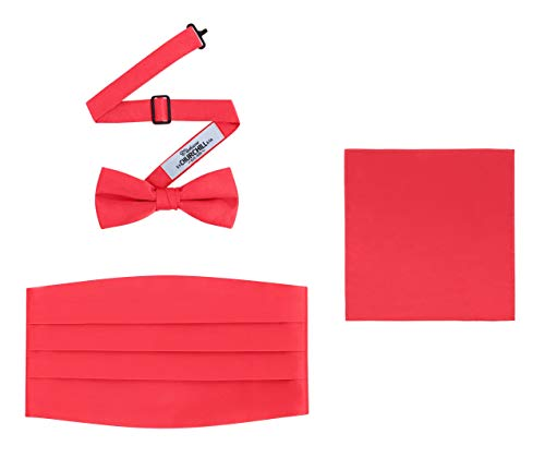 Set Red Cummerbund (Men's 3 Piece Formal Accessory Set with Bow Tie, Cummerbund & Pocket Hanky(Red))