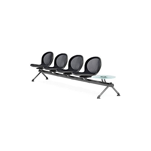 Series Reception Seating - OFM NB-5G-BLACK Net Series Beam Seating with 4 Chairs and Single Table, Black