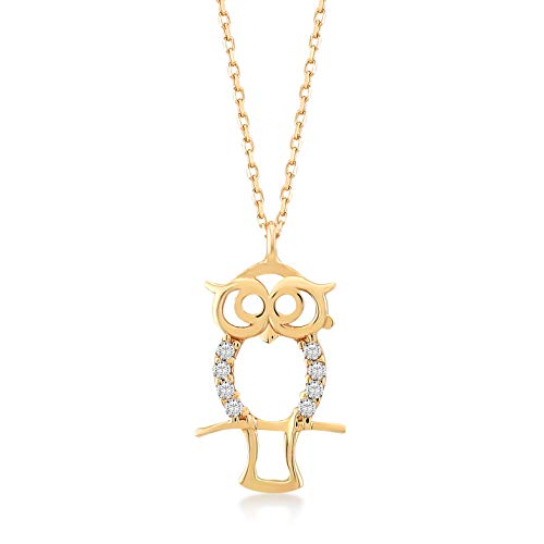 GELIN 14k Yellow Gold Owl with CZ Pendant Chain Necklace for Women, 18