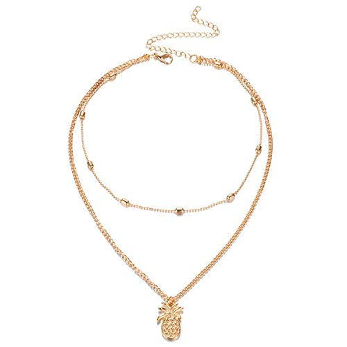 victoriasong Fashion Multi Layer Pineapple Necklace Set Bohemia Gold Bead Double Chai Necklace ()