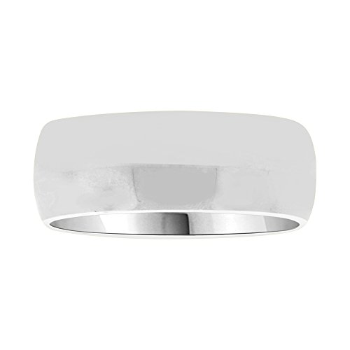 14k White Gold, Classic Plain Polished Band Ring 7mm Wide Size 12.5 by GiveMeGold