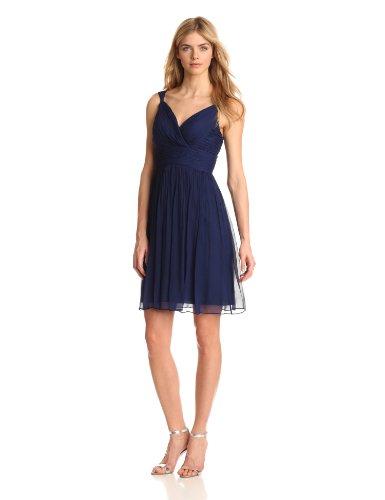 Donna Morgan Women's Jackie V-Neck Chiffon Dress with Stylized Straps, Midnight, 16 (Donna Morgan Silk Chiffon)