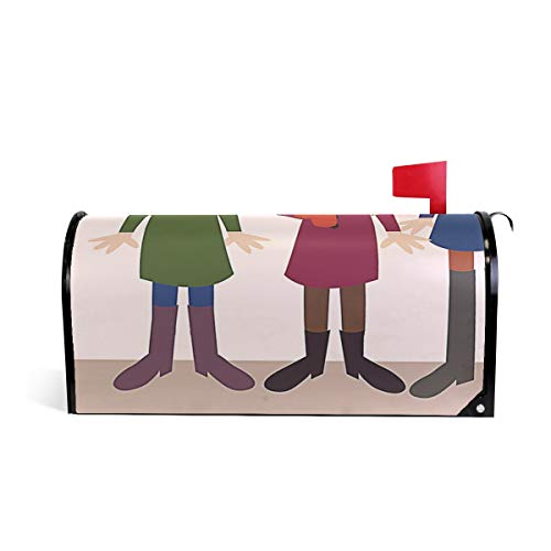 Friendly PVC Magnetic Mailbox Cover,Carolers Girl Mail Box Makeover Waterproof Anti Sunburn Decor Standard -