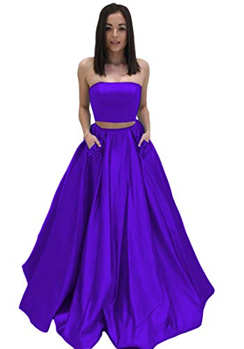 a81e15a32cf79 Lilyla Purple Two Piece Prom Dresses Long A-Line Beaded Satin Evenin Gown  with Pockets US18W
