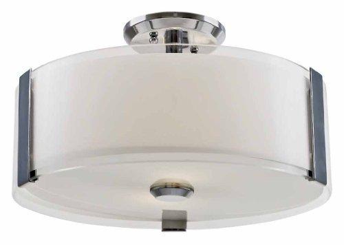 DVI Lighting DVP14511SN-SSOP Semi Flush Mount with Silk Screened Opal Glass Shades, Satin Nickel Finish by DVI (Ssop Satin)