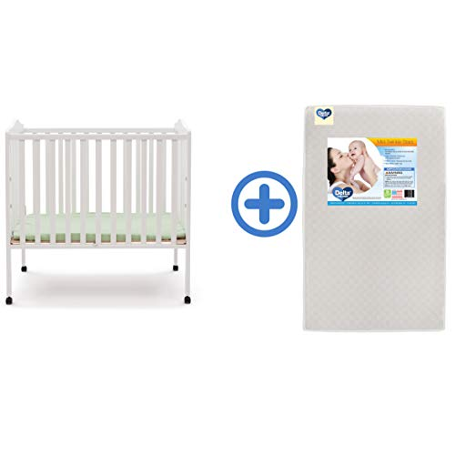 (Delta Children Folding Portable Mini Baby Crib & Twinkle Stars 3-Inch Waterproof Portable Crib Mattress, White)