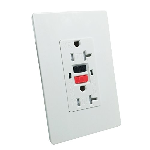 GFCI 20A TR Wall Outlet - LASOCKETS 20A 125V TR & Weather Resistant & Automatically Tests Standard Wall Outlet,Commercial Grade, White Wall Socket (Color Button) with 2 free Wall Plates, UL Listed by LASOCKETS