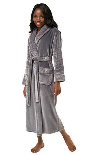 (Women's Plush Soft Warm Fleece Bathrobe, Comfy Womens Robe Gray)
