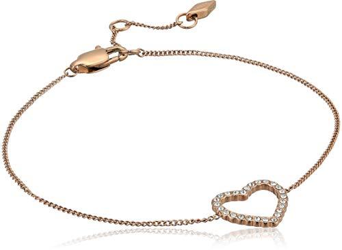 Fossil Women's Open Heart Rose Gold-Tone Stainless Steel Bracelet
