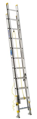 Werner D18202EQ Equalizer 250-Pound Duty Rating Aluminum Extension Ladder with Integrated Leveling System, 20-Foot