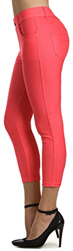 (Prolific Health Women's Jean Look Jeggings Tights Slimming Many Colors Spandex Leggings Pants S-XXXL (Small, Coral Capri))
