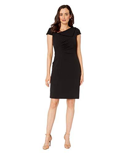 Tahari by ASL Women's Fold-Over Collar Crepe Short Sleeve Crepe Dress Black 6