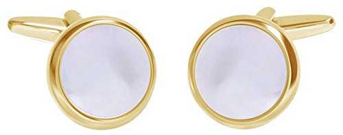 - David Van Hagen Mens Shiny Circle Mother of Pearl Cufflinks - White/Gold