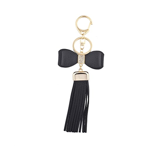 Gold Tone Keychain (Lux Accessories Black Bow and Gold Tone Short Leather Tassel KeyChain Bag Charm)