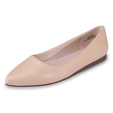 CZZPTC Leather Women's Flat Shoes Classic Casual Pointed Toe Ballet Flats Shoes for Women Beige5-DG