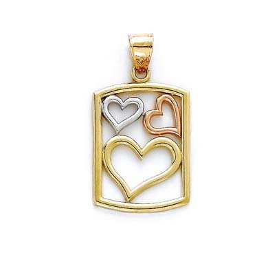 Tricolore 14 Carats Pendentif cœur Boîte JewelryWeb