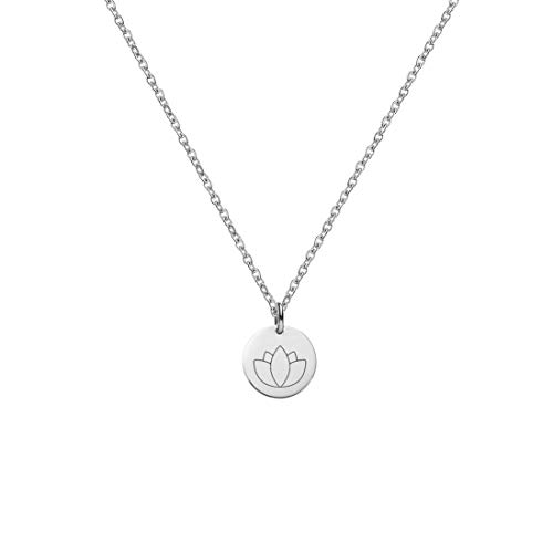 Engravable Lotus Stainless Steel Silver Yoga Necklace Minimalist Dainty Laser Engraved 10mm Disc Jewelry with Gift Box -