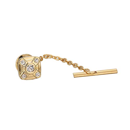 JIA-WALK Classic Metal Clutch Pin Backs Tie Pin Golden Square Tie Tack with Chain Wedding Gifts for Groomsmen