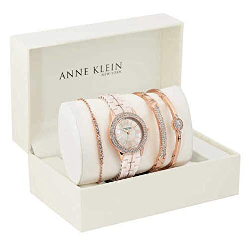 New Anne Klein New York 12/2298RGST Rose-Gold-Tone Ceramic Watch & Bangle Set