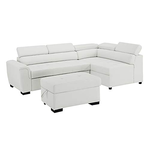 Bliss Brands Sectional Sofa with Chaise & Ottoman 3 Piece Set, Faux Leather Pull-Out Bed (White), Great for Living Room & Office, 2019 Updated Model