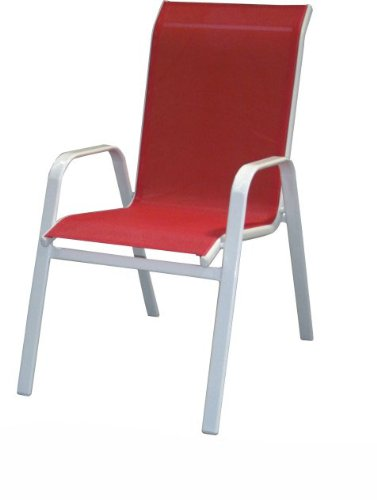DC America 372139-RD4PK 4-Pack Fantasy Sling Chair, Cherry Red