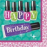 Club Pack of 192 Sparkle Spa Party!''HAPPY BIRTHDAY'' Disposable 2-Ply Lunch Napkins 6.5''
