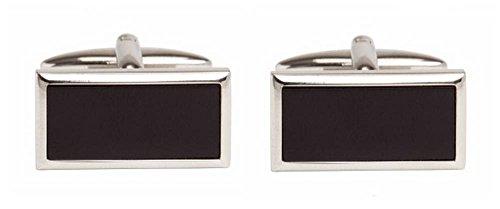 - David Van Hagen Mens Onyx Wide Rectangle Cufflinks - Silver