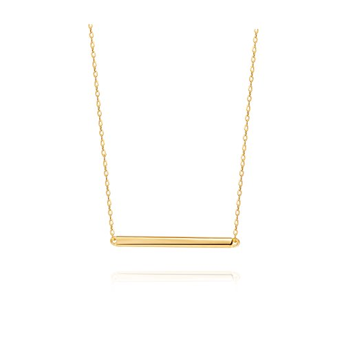 S.Leaf Bar Necklace Gold Necklaces for Women Sterling Silver Dainty Necklace (Yellow Gold) 14k Engraveable Cross Pendant